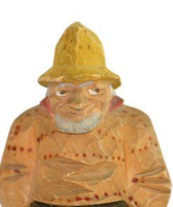 Traskulptur – Signerad K-L Fbv snidad fiskargubbe ansikte
