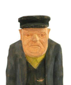 Traskulptur – Signerad HJD snidad gubbe med keps ansikte