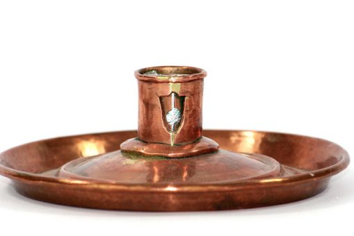 Ljusplat antik koppar slaglodning - Kopparljusstake 1800-tal detalj lodning