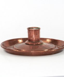 Ljusplat antik koppar slaglodning - Kopparljusstake 1800-tal helhet