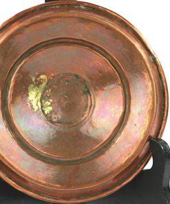 Ljusplat antik koppar slaglodning - Kopparljusstake 1800-tal undersida
