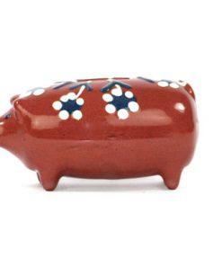Spargris – Piggybank liten allmoge brun och blommor sida2