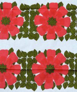 Retrotextil - Blommig duk ceriserosa och gront bladverk detalj blombard
