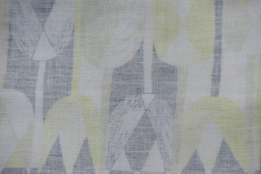 Retroduk tulpaner ljusgult och gratt pa tryckt linnetyg detalj baksida