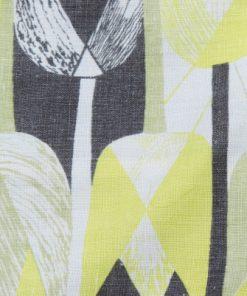 Retroduk tulpaner ljusgult och gratt pa tryckt linnetyg detalj framsida