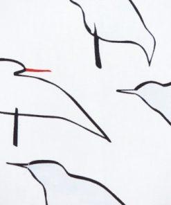 Tryckt bomullstyg faglar – Ylva Kongback 2005 grona vagor detalj faglar