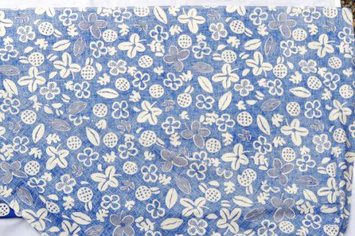 Retrotyg – Blatt med vita blommor och frukter bomull bsksida