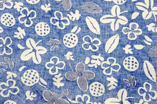 Retrotyg – Blatt med vita blommor och frukter bomull detalj baksida