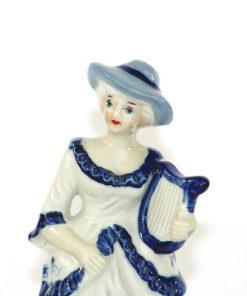 Figurin rokoko-dam med harpa blå vit porslin detalj ansikte