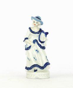 Figurin rokoko-dam med harpa blå vit porslin