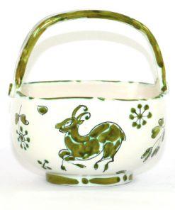 Bilden visar Fratelli Fanciullacci korg 3333 Italy skål med handtag sida med hjort