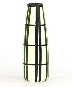 Bilden visar Strehla Keramik 897/1 vas Handgemalt svart vit