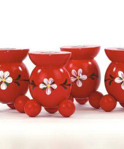 Bilden visar Klotljusstake – Röd bemålad kurbits träljusstake fyra stycken i lager