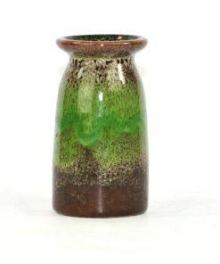 Bilden visar Strehla Keramik 1229 vas – 1960-tal GDR grön brun helhet