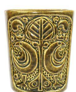 Bilden visar Bay Keramik vas 96-77 Bodo Mans olivfärgad detalj mönster