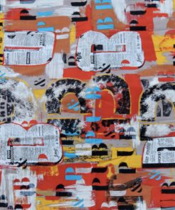 Bilden visar Retrotyg – Nyheter news paper journal print tryckt bomullstyg mönster