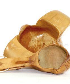 Bilden visar Rotskål och skopa björk – Snidad vrilskål kåsa masurknölar insida
