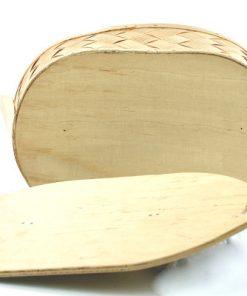 Bilden visar Svepask flätat björkspån – Kånkask, äska handtag undersida