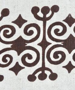 Bilden visar Tygtryckaren i Trosa retroduk - Löpare handtryck lin detalj