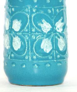 Bilden visar Strehla Keramik 998 turkos vas – Fat Lava GDR detalj
