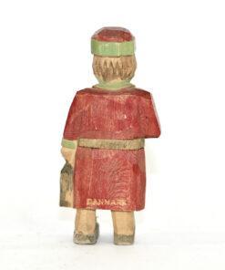Bilden visar Trägubbe - Lyktgubbe med röd rock och lykta Danmark ryggsida