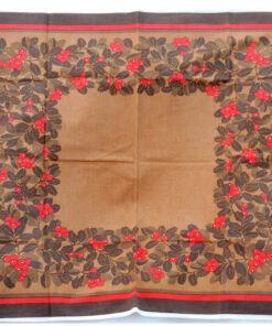 Bilden visar Retroduk – Julduk brun med lingon höstduk 1970-tal helhet