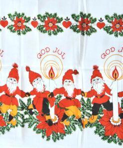 Bilden visar Retroduk – God Jul med tomtar och julljus, julduk 1980-tal detalj